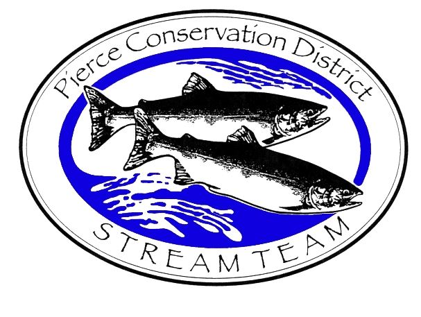 fish in a blue stream. They are surrounded by an oval and text around them reads Pierce Conservation