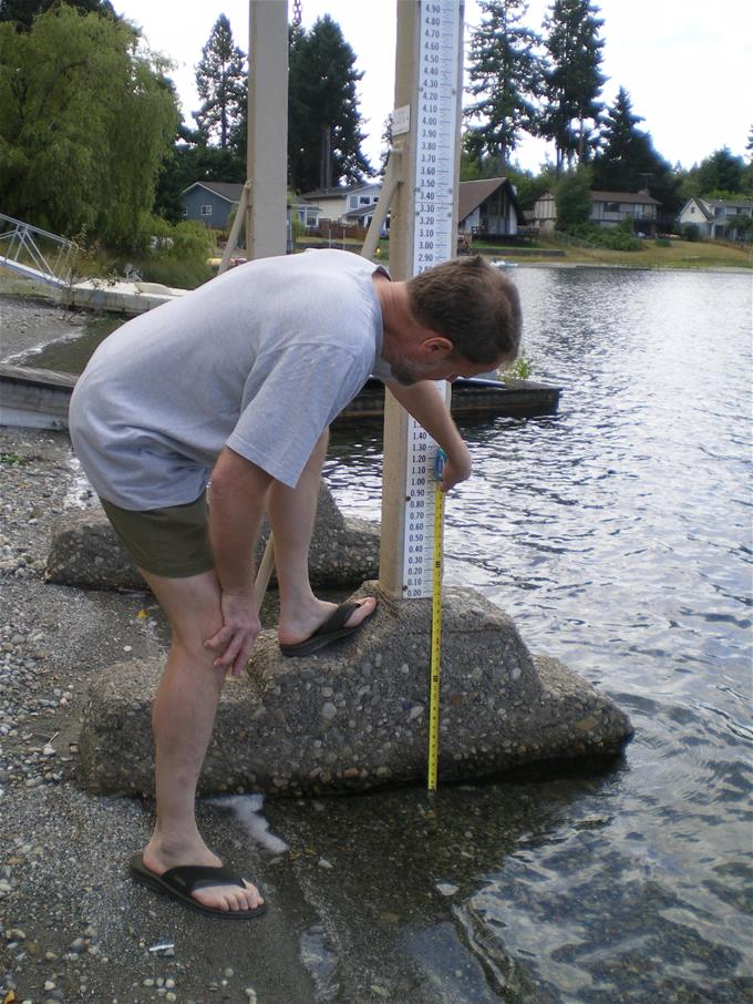 Measuring lake stage on Lake Louise